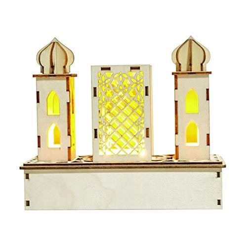 Decoración De Bricolaje Ramadán Eid Mubarak Luz De Noche LED, Lámpara De Mesa De Palacio De Madera Decoración De Eid Mubarak, Adecuada Para Eid Mubarak U Otra Decoración Del Hogar De Vacaciones