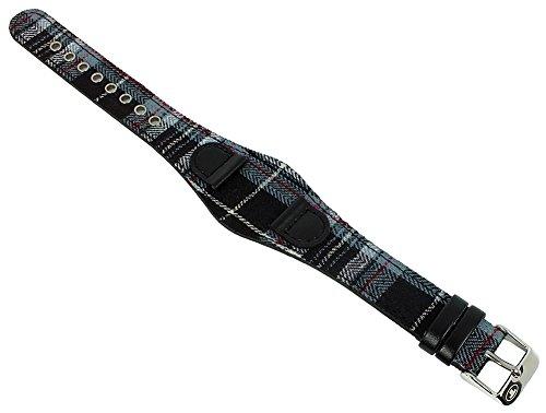 Uhrenarmband Unterlagen-Band kariert von Tom Tailor für Modell 5408002 14mm Textil auf Leder