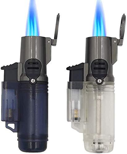 LONDAFISH Outdoor Jet Accendino antivento Turbo Triple Flame Gas Butano Visibile, ricaricabile, confezione da 2 pezzi (senza carburante)