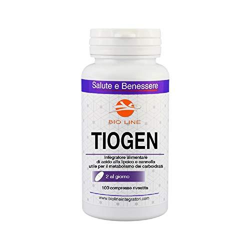 TIOGEN - Integratore alimentare di acido alfa lipoico e cromo picolinato, 100 compresse
