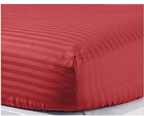 1 Fitted Sheet Only, 100% Egyptian Cotton 400 Thread Count, Fits Mattress Perfectly - Soft Wrinkle Free Sheet -42 CM Deep Pocketof Fitted Sheet, Bugundy Stripe- Emperor Size