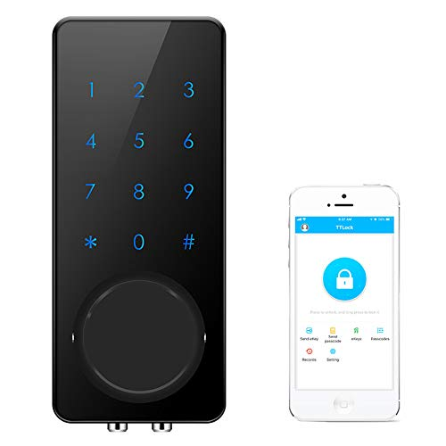 AKASO Smart Lock, Smart Electronic Door Lock APP Code Touch Screen Keypad Deadbolt Entrance Smart Electronic Digital Door Lock with Key Remote Keypad for Home Hotels Apartment (Black)
