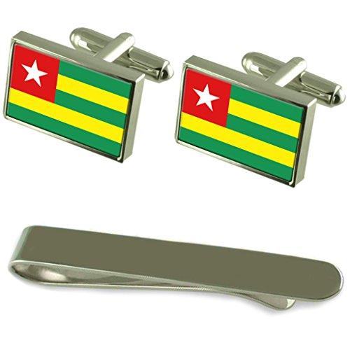 Select Gifts Togo Fahne Silber Manschettenknöpfe Krawatten Geschenkset mit Gravur