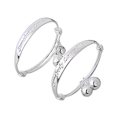 MileHouse Earrings for Women Men,New Gift 2pcs Silver Plated Baby Kid Bell Bangle Bracelet English Letter
