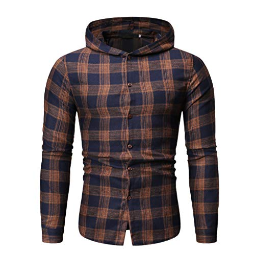 Why Choose Men Plaid Hooded Jacket Long Sleeve Lattice Painting Hoodie Winter Slim Fit Button Top Bl...