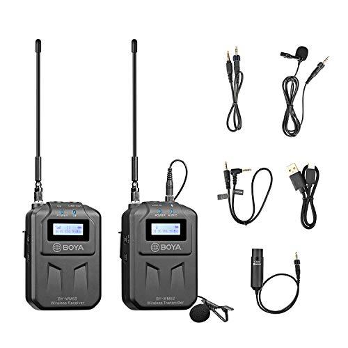 Sistema de micrófono inalámbrico UHF BOYA WM6S de 48 canales compatible con teléfono inteligente, tableta, cámara DSLR, videocámara y grabadora de audio para periodista móvil, cineasta y camar