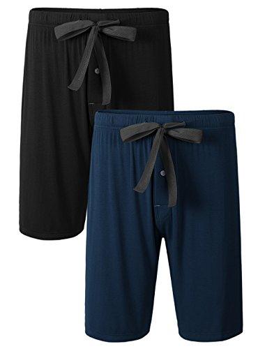 DAVID ARCHY Men's 2 Pack Soft Comfy Bamboo Rayon Sleep Shorts Lounge Wear Pajama Pants (L, Black/Navy Blue)