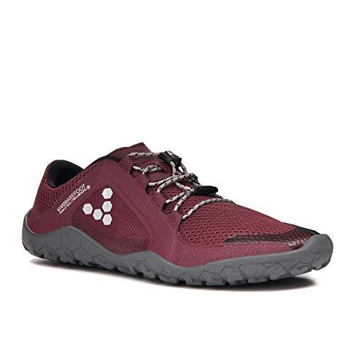 Vivobarefoot Primus Trail Fg, Womens Recycled Breathable Mesh Off-Road Shoe with Barefoot Firm Ground Sole Cordovan