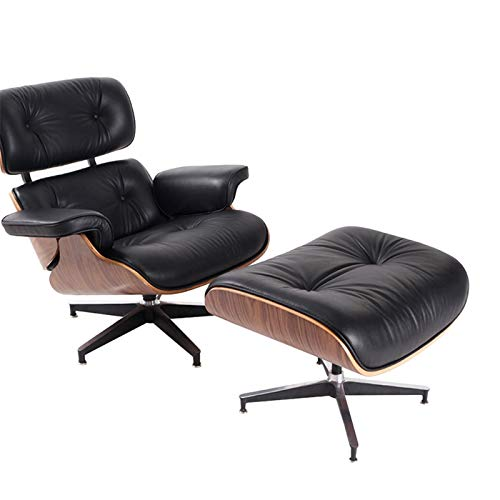GIAO Leisure Recliner Chair, Leather Swivel Recliner Chair With Matching Footstool