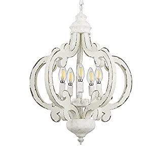 Farmhouse Chandeliers Handmade Distressed White Wood Pendant Light,5-Light Country Hanging Light Fixture for Dining Room,Kitchen Island Bedroom Foyer Hallway(White, 5-Light)