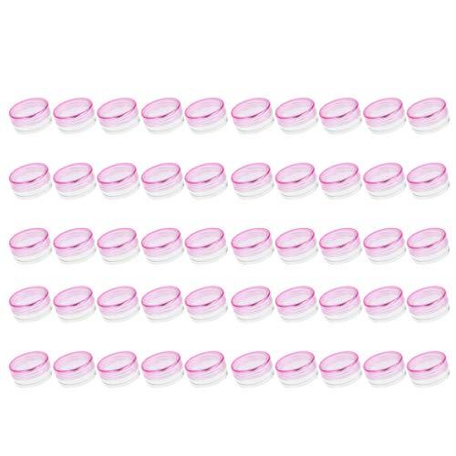 IPOTCH 50pcs 3g Pots De Récipient Cosmétiques En Plastique Rechargeables Pour Bijoux En Poudre De Clous, Fard à Paupières, Etc. - Rose