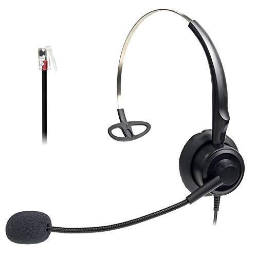 Audicom Office Phone Headset RJ9 with Mic Corded Call Center Telephone Headset Compatible with Avaya 1416 2420 5410 Polycom VVX310 VVX311 VVX410 VVX411 Aastra 6757i Mitel 5330 NEC ShoreTel(H200STA)