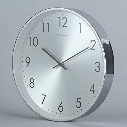 KINGXX-01 Cocina Reloj Pared 2 Reloj de Pared silencioso nórdico Simple: Marco de Madera Curvado Ming, Reloj de Marco de Metal Plateado de Alto Brillo (Color : Silver)
