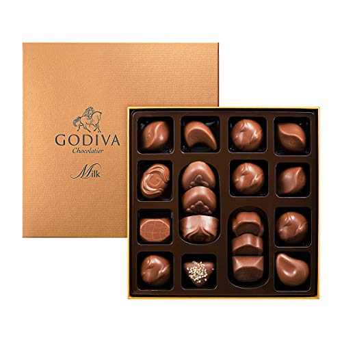 Godiva, Connoisseur bombones surtidos chocolate con leche 18 piezas, 220g