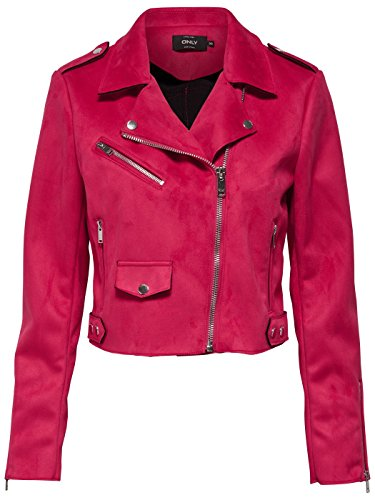 Only Onlsherry Cropped Bonded Biker Otw, Chaqueta para Mujer, Rosa (Virtual Pink), 38 (Talla del Fabricante: 36)