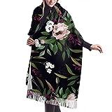 Manta, Bufanda con Flecos, Accesorios de Vestidos, Tapiz, romántico patrón Oscuro Compuesto Flores pintadas Bufanda Grande Premium Bufandas de Mujer