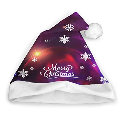 Cosmic with Asteroids Meteorites Santa Hat Christmas Santa Hat Felpa Corta con puos Blancos Tela de Felpa Sombrero de Navidad para Adultos