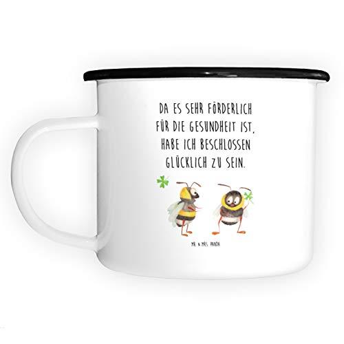 Mr. & Mrs. Panda Emaille-Optik, Trinkbecher, XL Emaille Tasse Hummeln mit Kleeblatt mit Spruch - Farbe Weiß