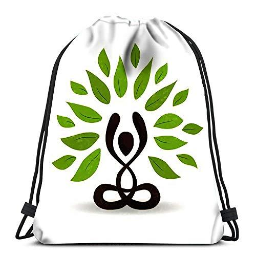 Rucksack mit Kordelzug, abstrakte Yoga-Konzepte, Person mit Lotushaltung, Meditation mit grünen Blättern, für Natur, Reisen, Turnbeutel, Rucksack, Schultertaschen, 3D