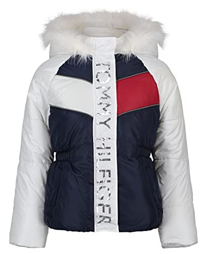 Tommy Hilfiger Girls' Puffer Jacket, FA21Block Swim Navy, 5