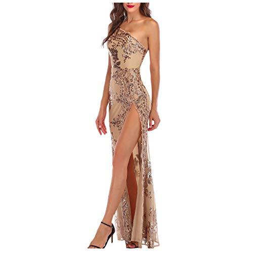 Your New Look Vestido de noche con lentejuelas florales de un solo hombro, sin mangas, patrón de flores, vestido largo para cóctel, fiesta, bodas, baile de graduación