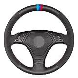 Ltxdczs para BMW E36 1996-2000 E46 1998-2000 Cubierta del Volante del Coche de Cuero Genuino Negro