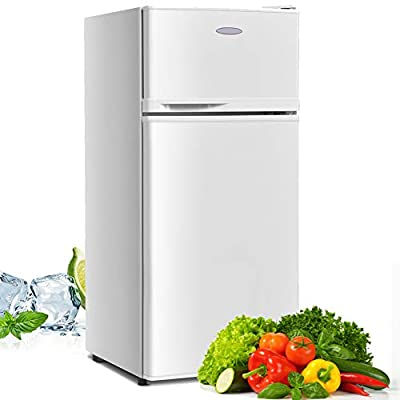 Compact Refrigerator, Safeplus 3.4 cu ft. Unit Cold-rolled Sheet Mini Refrigerator with freezer, Dorm fridge with Adjustable Removable Shelves (White)