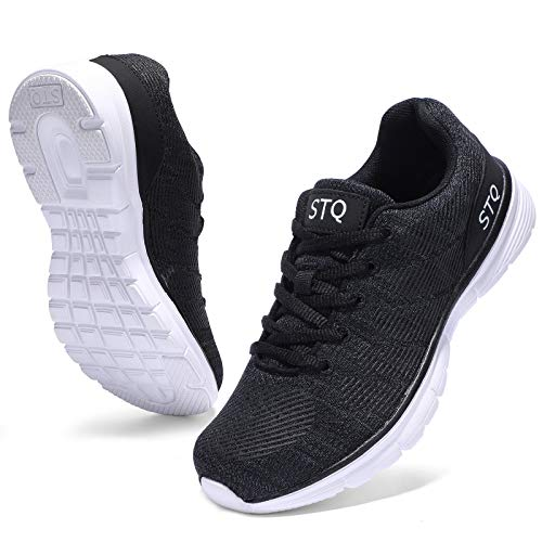 STQ Walking Shoes Women Lace-up Workout Comfort Tennis Road Running Sneakers for Gym Black 7.5
