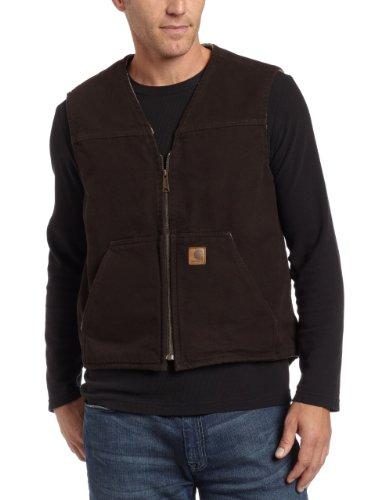 Carhartt Men's  Sherpa Lined Sandstone Rugged Vest V26,Dark Brown,Large
