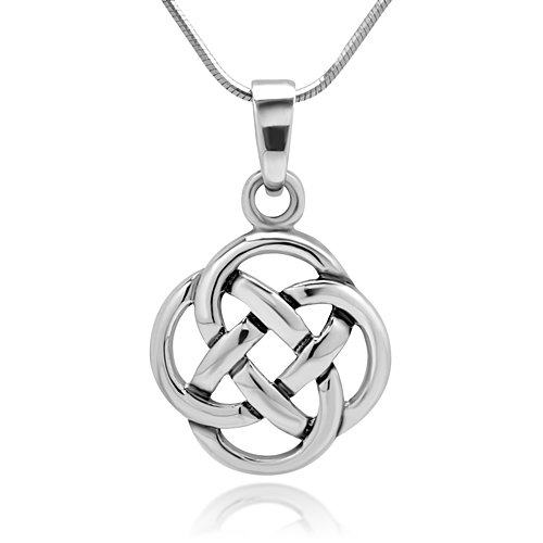925 Sterling Silver Celtic Knot Five Fold Pattern Round Pendant Necklace, 18 inches