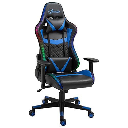 Vinsetto Gaming Chair with RGB LED Light, 3D Arm, Lumbar Support, Swivel Home Office Computer Recliner High Back Racing Gamer Desk Chair, Black Blue