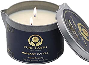 Muscle Relaxing Massage Oil Candle - Moisturizing Vegan Massage Candles for Couples - 100% Plant Based Massage Candle with Grapefruit, Rosemary, Black Pepper in 6 Ounce - by Pure Earth Essentials