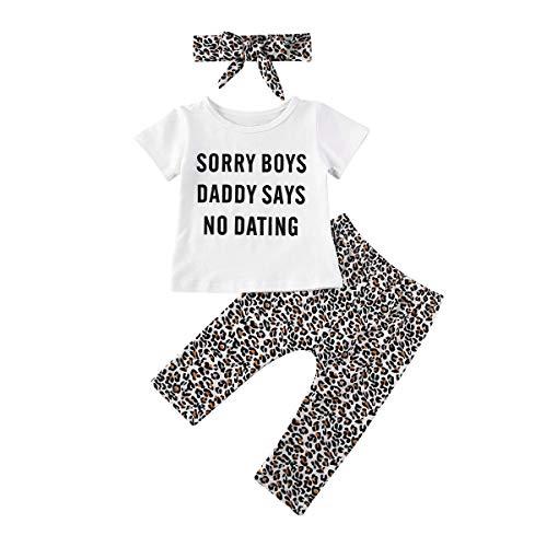 Neugeborenes Baby Mädchen Sommer Mode Bekleidungsset Sorry Boys Daddy Says No Dating Printed Kurzarm T-Shirt Tops Leopard Hosen Leggings mit Stirnband Outfit Set (Weiß, 0-6Monate)