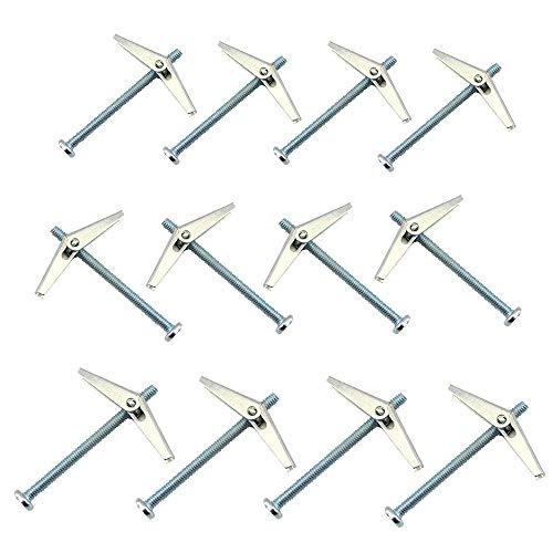 12 Stück Kippdübel, Kippschraube und Flügelmutter zum Aufhängen schwerer Gegenstände an Trockenbauwänden (M5 x 75 mm, M6 x 75 mm, M6 x 100 mm)