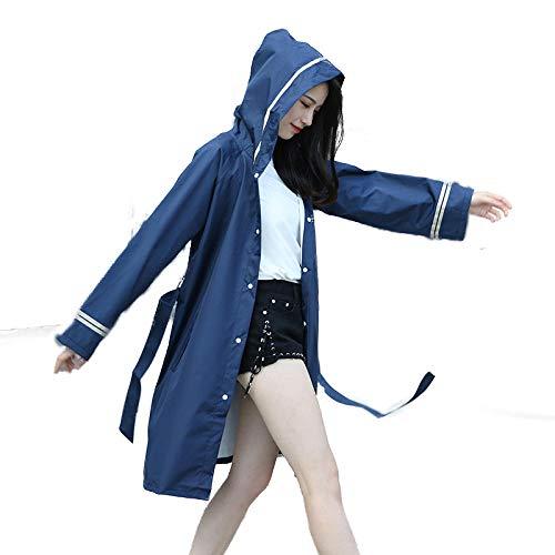 ZWYM Impermeabile con Cappuccio da Donna Impermeabile Blu Scuro Elegante Elegante in Vita Trench in plastica Poncho Antivento Antipioggia Escursionismo allaperto Travel-SGiacche Resistenti allAcqua