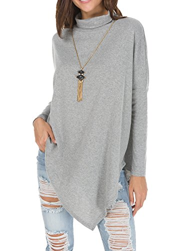 levaca Womens Batwing Sleeve Casual Baggy Irregular Pullover Poncho Shirts Gray S