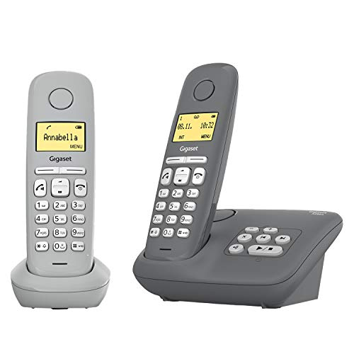 Gigaset A280A Duo - 2 Schnurlose Telefone mit Anrufbeantworter - brillante Audioqualität auch beim Freisprechen - intuitive, symbolbasierte Menüführung - Kurzwahltasten - Grafik-Display, grau