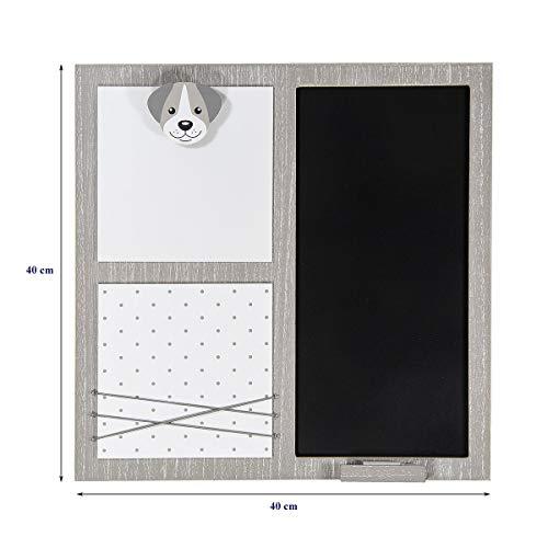 Kreidetafel Tafel Memoboard Küche Memo Wand Deko mit Klammern für Bilder Memo und Notizen, Grau weiß Holz Wandtafel Hunde Motiv Home Deko für Küchen