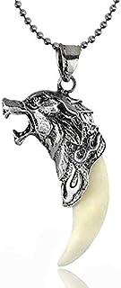 Men's Antique Silver Tribal Stark Wolf Fang Vintage Tooth Dragon Pendant Men Necklace For Men