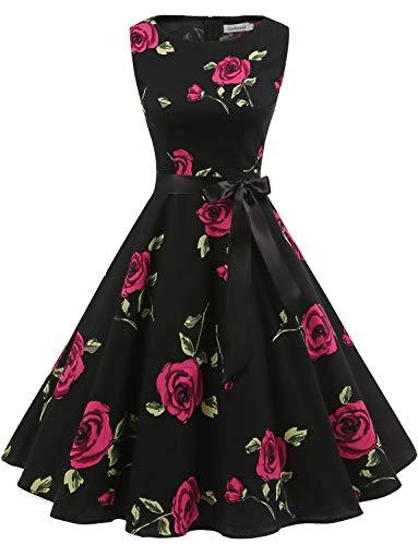 Gardenwed Damen 1950er Vintage Cocktailkleid Rockabilly Retro Schwingen Kleid Faltenrock Black Rose XL