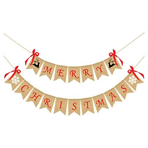 PRETYZOOM Weihnachtsfeier Bunting Banner Urlaub Wimpel Banner Frohe Weihnachten Brief Flaggen mit Bogen für Fenster Kamin Hängen Dekoration (Khaki)