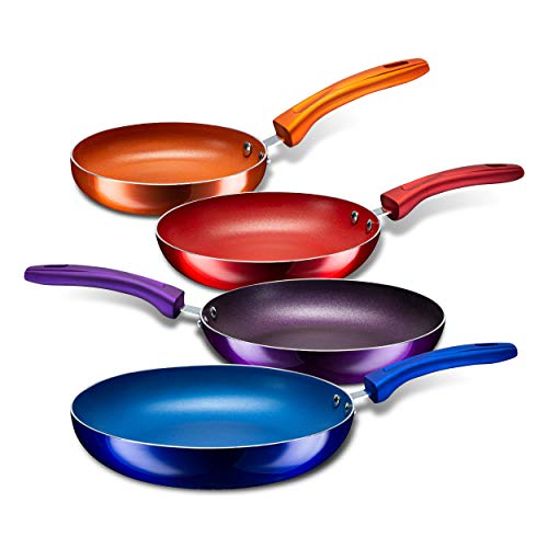 Chef's Star Aluminum Nonstick Pans Set for Sauteing and Frying, Skillet and Stay Cool Handle; Induction Compatible; Set of 4, Multi-color.