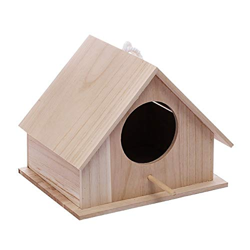 BTTNW Casa per Uccelli Parrocchetto, Artigianato for i Bambini for la casa Appendere al Chiuso o all'aperto Durevole Edilizia Uccello Case in Giardino (Colore : A, Size : 26.5X21.5X21.5cm)