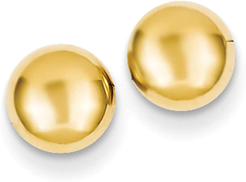 Lex & Lu 14k Yellow Gold Polished Half Ball Post Ear LAL91822