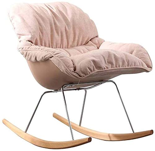 Home Furniture Comfortable Meditation Chair Rocking Chair Light Grey Rocker Relax Chair Lounge Chair Recliner Relaxing Chair Linen with Comfortable Padded Seat,Retro Design Relax Chair Armchair Bedroo