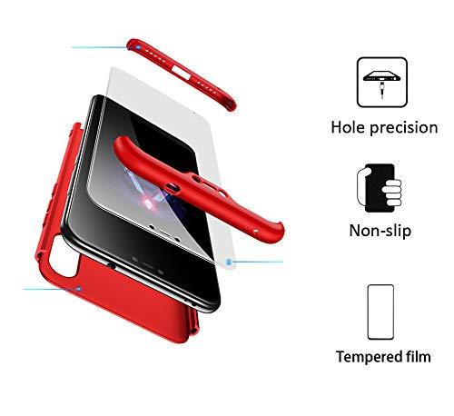 BESTCASESKIN Funda Compatible con Xiaomi Mi A2 Lite, Carcasa Móvil de Protección de 360° 3 en 1 Desmontable con HD Protector de Pantalla Caso Case Cover [Anti Huellas Dactilares] Rojo