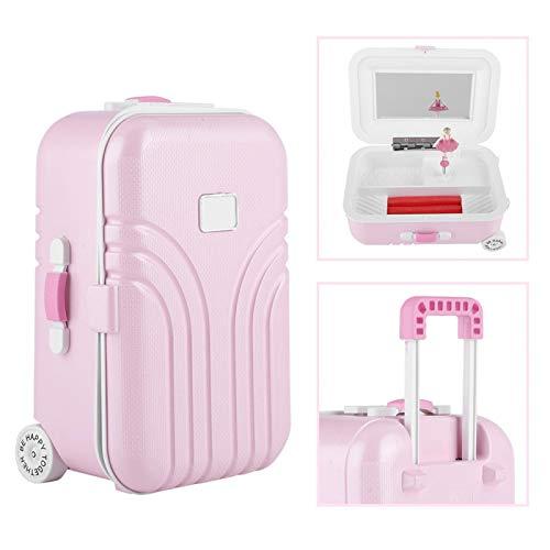 LOVINO Mini Caja de música, Modelo de Maleta Elegante clásico No Necesita batería con Espejo para almacenar y organizar Sus cosméticos Joyas para la Tienda de cosméticos