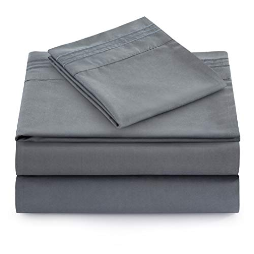 Bamboo Living Ultra Soft Elastic Corner Straps Silky Deep Pocket Solid Rayon from Bamboo All Season 4 Pieces Sheet Set with 2 Embroidered Pillowcases, Gray Color King Size