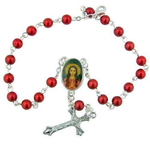 Acrílico rojo cuentas oración pulsera de rosario de Santa Filomena, 73/4Inch