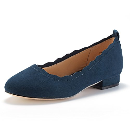DREAM PAIRS Women's Sole_Elle Navy Fashion Low Stacked Slip On Flats Shoes Size 5.5 M US